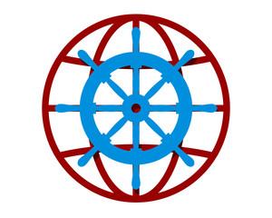 rudder sail globe image vector icon logo