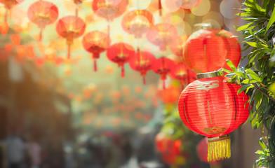 Poster Pékin Chinese new year lanterns in chinatown