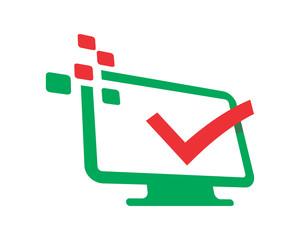 check mark monitor screen image vector icon logo