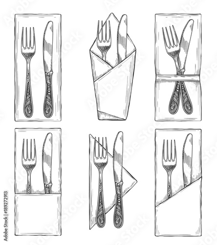 Cutlery on napkins sketch  Fork, knife and spoon on napkin