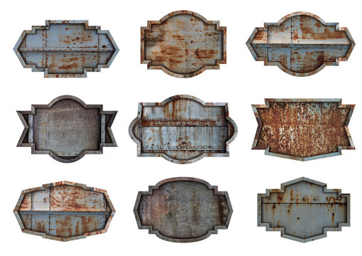Old steel metal sign plate texture background isolated on white