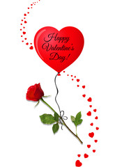 valentine's day greeting card with red rose on red heart balloon