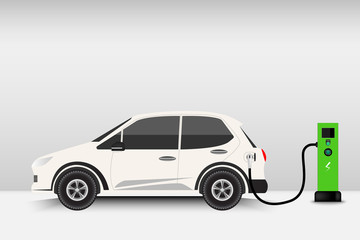 Electric car and charging station point, Technology EV, Automobile concept