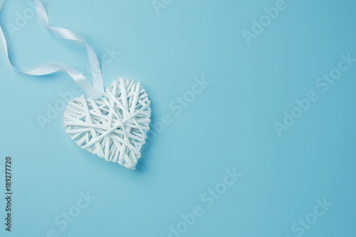 Wicker White Decorative Heart On Light Blue Background Corner
