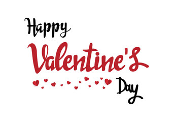 Handwritten romantic greeting card with text happy valentine Day. February 14. minimal concept. Vector Illustration
