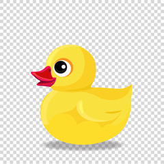 rubber or plastic duck toy for bath isolated on transparent