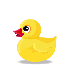 yellow rubber or plastic duck toy for bath isolated on white