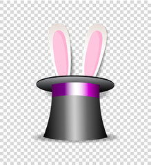 rabbit ears appear from magician hat isolated