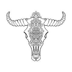Mandala tattoo style dead cow head. Decorative ornament buffalo skull. Native indian art. Ethnic sketch design. Tribal boho style pattern. Vector illustration.
