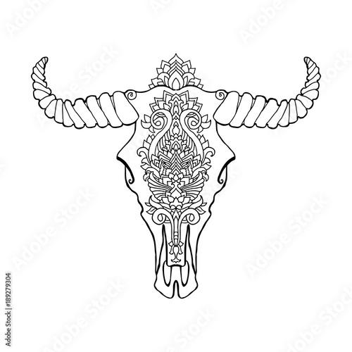 Mandala tattoo style dead cow head  Decorative ornament