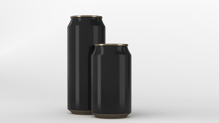Big and small black and gold soda cans mockup