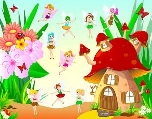 Fairies fly around the mushroom house