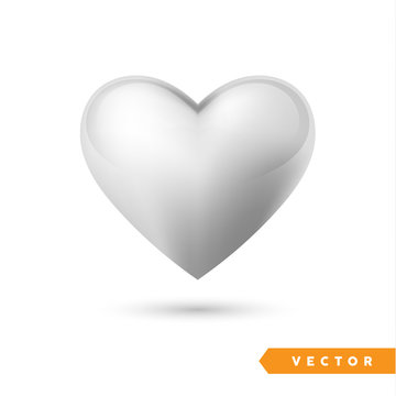 Realistic silver heart. Isolated on white. Valentines day greeting card background. 3D icon. Romantic   vector illustration. Easy to edit design template for your artworks.