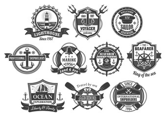 Vector nautical marine heraldic icons set