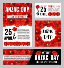 Anzac Day banner template with red poppy flower