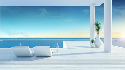 Beach lounge ,sun loungers on Sunbathing deck and private swimming pool with  panoramic sea view at luxury villa,summer /3d rendering