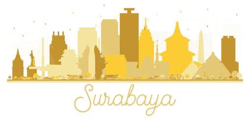 Surabaya Indonesia City skyline golden silhouette.
