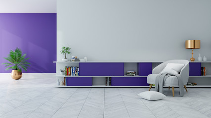 Loft modern interior of living room ,Ultraviolet home decor concept, gray armchair and  ,,purple book shelf  on white wall and white floor ,3d render