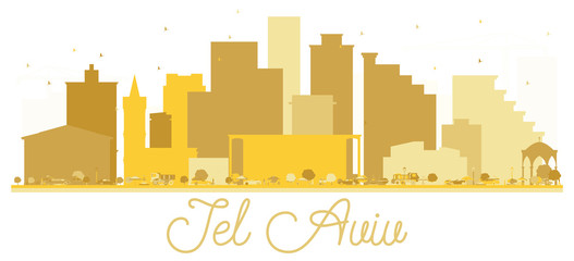 Tel Aviv Israel City skyline golden silhouette.