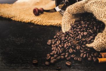 closeup roast coffee beans in bag