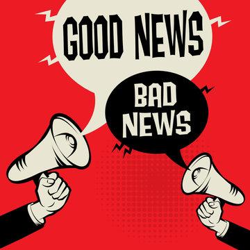 Megaphone Hand business concept Good News versus Bad News
