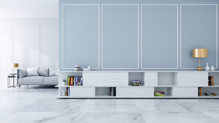 TV  sideboard with gold  lamp and on light gray wall and marble floor ,luxury modern room interior,empty room /3d render