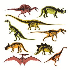 Dinosaurs skeletons and silhouettes vector flat isolated icons of tyrannosaurus, pterodactyl and brontosaurus