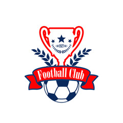 Vector football cup and ball of club heraldic icon