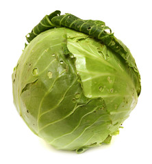 head of Cabbage Isolated on White Background.