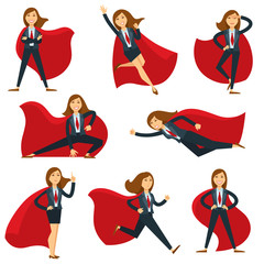 Superwoman or super woman office manager in superhero costume vector flat character icons