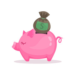 Pink piggy bank and money bag, saving and investing money concept  cartoon vector Illustration