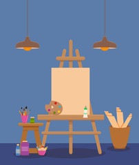 Art studio interior colorful vector illustration.