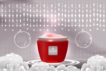 Red cosmetic container with advertising background ready to use, luxury skin care ad design. illustration vector