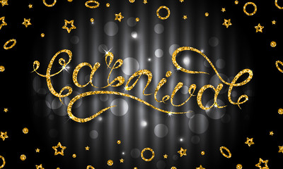 Carnival Lettering Design, Calligraphic Typography. Glitter Pattern for Party