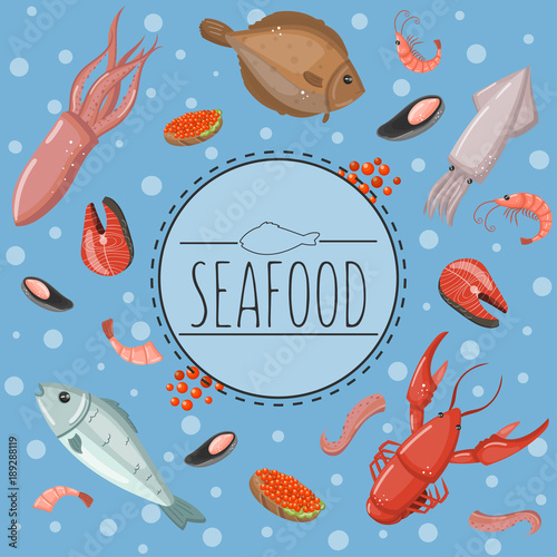 Seafood Fish Products For The Market Or Restaurant Vector Illustration In Cartoon Style