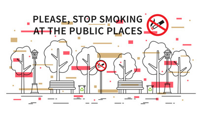 City park no smoking vector illustration with colorful elements. Stop smoking sign at the public place line art concept.