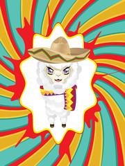 Cartoon Alpaca in Sombrero