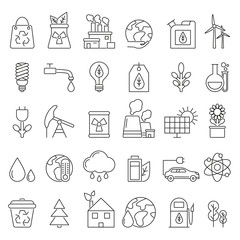 Eco symbols in mono line style. Industrial and ecology pictures set