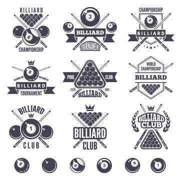 Logos set for billiard club