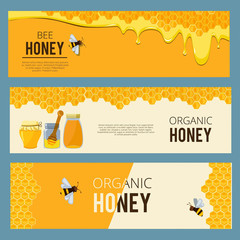 Horizontal banners with pictures set of apiary. Honey, waxing bee and beehive