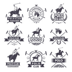 Sport labels for polo games. Monochrome silhouette of jockey and horse