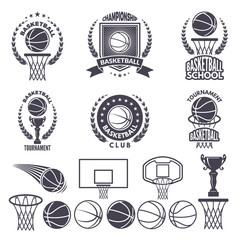 Sport logos with basketball monochrome pictures. Vector labels set isolate on white
