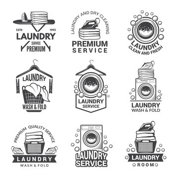 Labels or logos for laundry service. Vector monochrome pictures