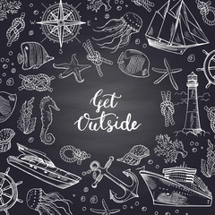 Vector sketched sea elements on chalkboard background with place for text