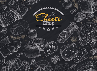 Vector background with a variety of cheeses