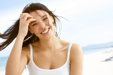 Summer portrait of happy young woman