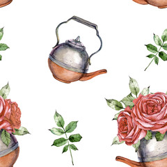hand drawn watercolor seamless pattern of vintage copper kettle and flowers
