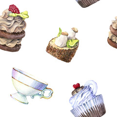 hand drawn watercolor seamless pattern of cakes and vintage Cup