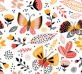 Vector seamless pattern with cute butterflies, flowers and plants. Bright stylish summer background.