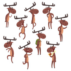 Cartoon set of funny brown moose in various poses. Eurasian elk with big horns Mammal forest animal character. Zoo theme. Flat vector for postcard or children s book